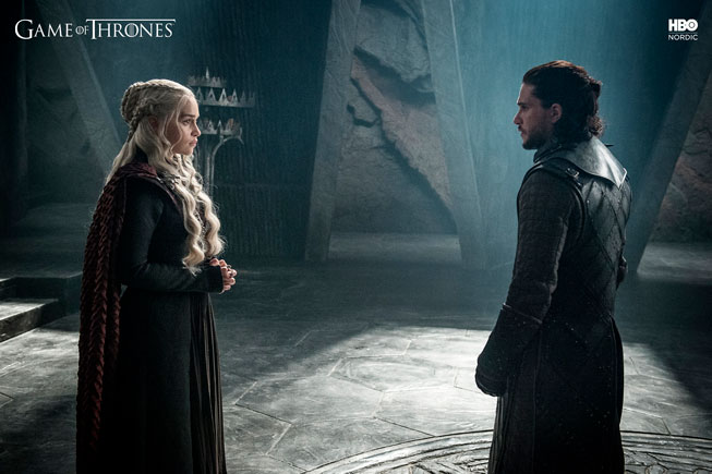 Jon Snow og Daenerys i Game of Thrones