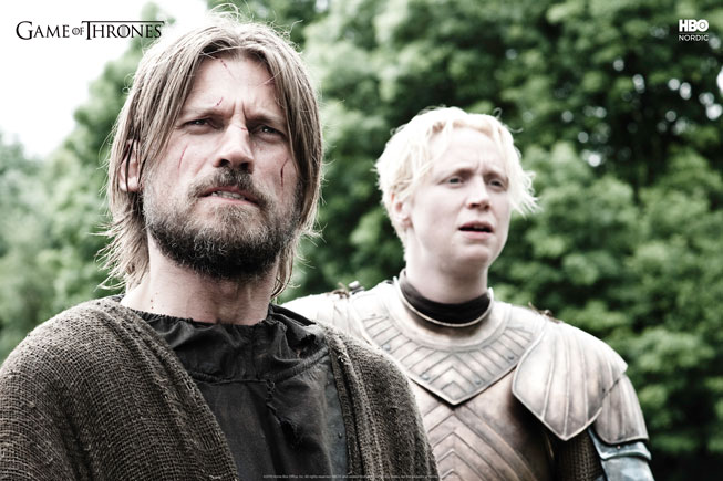 Jamie Lannister og Brienne of Tarth i Game of Thrones